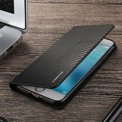 £5.49 • Buy Magnetic Carbon Leather Flip Wallet Case Cover For IPhone 13 11 12 SE 7 8 6S XR