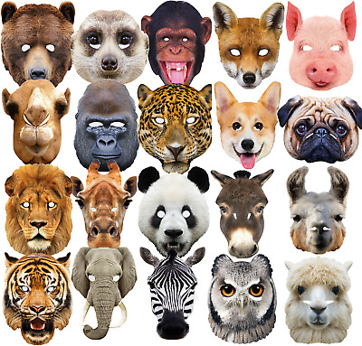 Adults Jungle Wild Farm Animal Mask Carnival Parade Fancy Dress Costume Outfit • 6.99£
