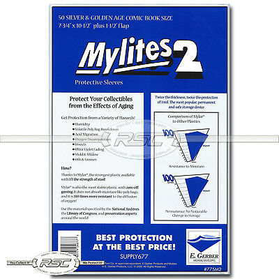 $19.95 • Buy 50 - Mylites 2 Silver & Golden Age 2-Mil Mylar Comic Bags By E. Gerber - 775M2