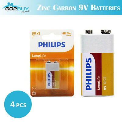 AU9.99 • Buy 4PCS GENUINE Philips Long Life Zinc Carbon 9V Battery Factory Sealed BULK LOT