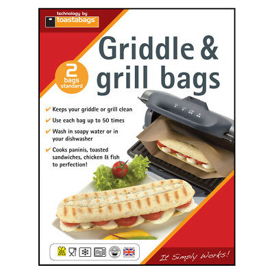 Toastabags Panini Griddle & Grill Reusable Bags 2PK Toasted Toasties Sandwiches • 3.99£