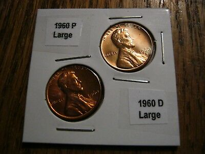 $1.60 • Buy 1960 P&D Large Date CENT UNCIRCULATED LINCOLN  BU US PENNIE YOU GET  2 Coins