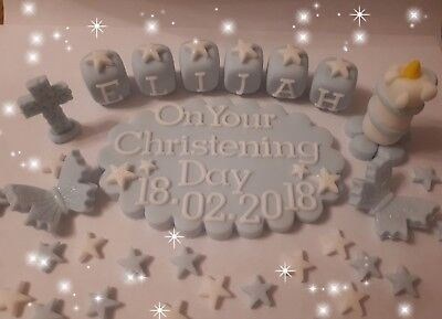 Christening Baptism Plaque,cross Candle Edible Handmade Cake Decorations Toppers • 13.29£
