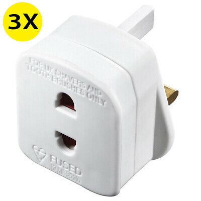 3X Electric Shaver Plug Adapter Oral-B Toothbrush 2pin To 3pin Converter Adaptor • 5.98£