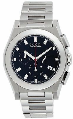 2a039d70992 GUCCI Quartz Pantheon Black Dial Date Chronograph Men s Watch Stainless  YA115235 • 1