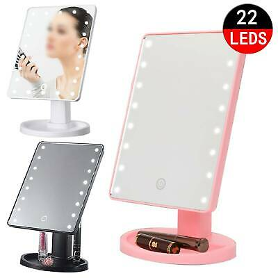 22 Led Cosmetic Make Up Mirror Tabletop Vanity Touch Screen Mirror Bathroom • 8.99£