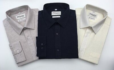 Mens Linen Long Sleeve Tailored Fit Shirts Work Formal Causal PM London • 14.95£