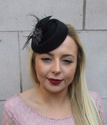 Black Feather Pillbox Hat Fascinator Hair Races Clip Ascot Funeral 1940s 5036 • 14.95£