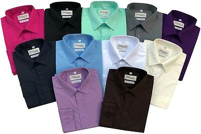 £12.95 • Buy Mens Long Sleeve Tailored Fit Coloured Shirts Formal Casual Work PM London
