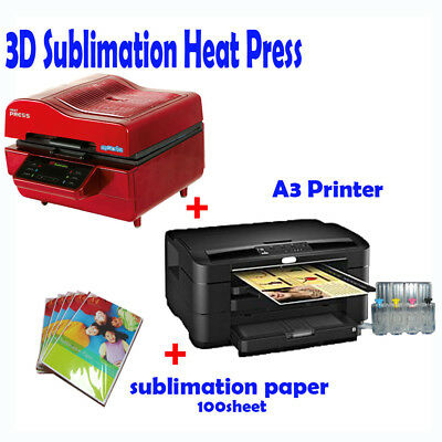 AU1903.50 • Buy 3D VACUUM DYE SUBLIMATION Ink HEAT PRESS+ A3 Printer(with Ink)+ Paper