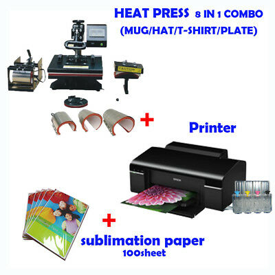 AU1095 • Buy 8 In 1 HEAT PRESS MACHINE + Printer (with Ink) + Sublimation Ink Paper