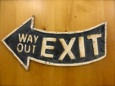 ANTIQUE-STYLE BLACK METAL  EXIT WAY OUT  ARROW WALL SIGN 21  Man Cave Vintage  • 26.95$