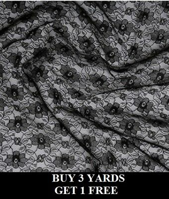 £3.35 • Buy Black Budget Lace Flowers Floral Net Stretch Crafts Dress-making Fabric Material