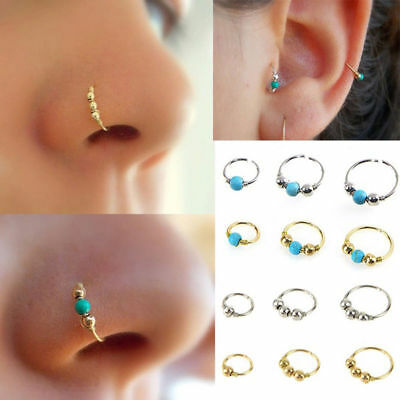 AU4.20 • Buy `Unisex High Quality Thin Nose Ring Hoop Fake Body Piercing Jewellery Silver