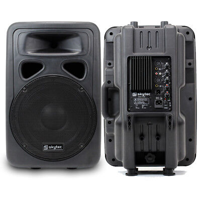 2x Skytec 12  Active Mobile Lightweight PA Karaoke Speakers System 1200W • 205£