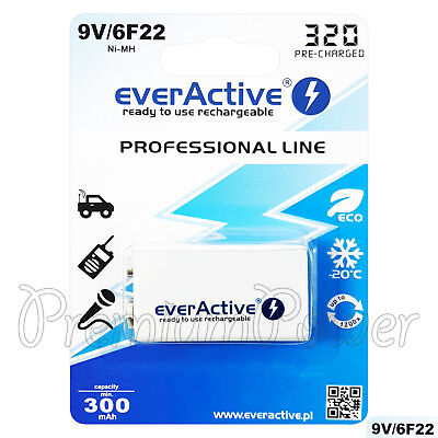 AU12.81 • Buy 1 X EverActive 9V Rechargeable Battery Professional Line 6F22 Min 300mAh Ni-MH