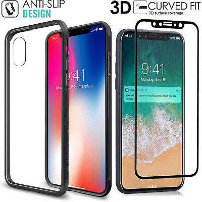 AU14.99 • Buy 2-IN-1 Premium Hybrid Protective Clear Case Black Bumper For Apple IPhone X/7/8+