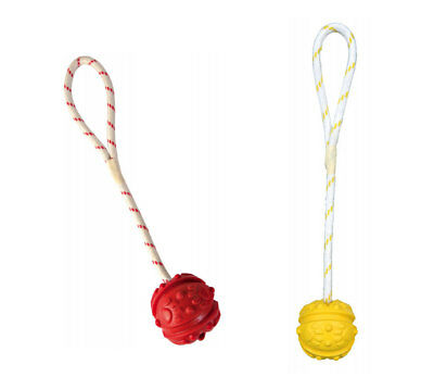 DOG TOY BALL ON ROPE X1 THROWING 35cm Natural Rubber FLOATING Colours Vary • 6.38£