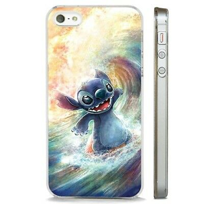 Lilo Stitch Surfing Amazing Art CLEAR PHONE CASE COVER Fits IPHONE 5 6 7 8 X • 5.95£