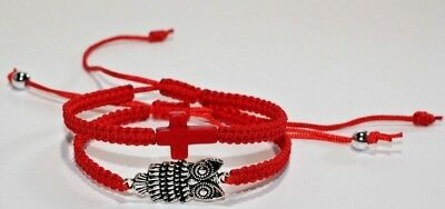 £9.21 • Buy Shamballa Owl And Cross Red Nylon Cord Bracelet Woman's 7 Inches.