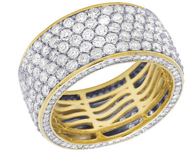$4312.34 • Buy Mens 14K Yellow Gold 3D Eternity Real Diamond Engagement Wedding Ring Band 6.8CT