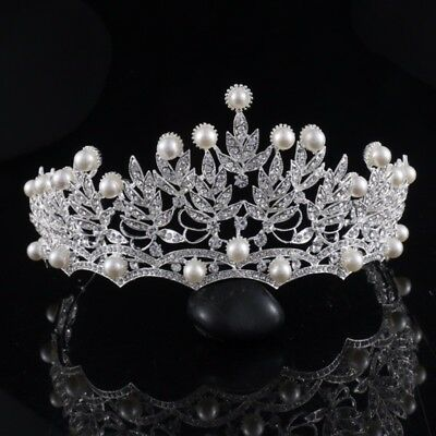 £32.57 • Buy Stunning Silver Crown/tiara With Clear Crystals & White Pearls, Bridal Or Racing