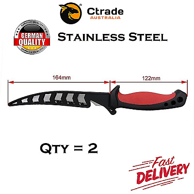 AU22.75 • Buy 2x FILLET FISHING HUNTING KNIFE BAIT Willow Blade Knife Stainless Steel