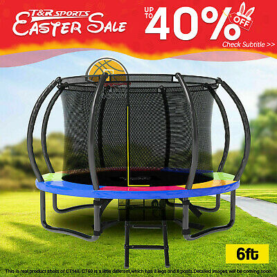 AU259.99 • Buy POP MASTER 6FT Curved Trampoline With Safety Net For Small Courtyard
