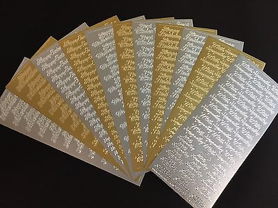Gold/Silver Peel Offs TWO Sheets Wording And Phrases Card Making Scrapbooking • 2.15£
