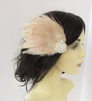 Beige Cream Pearl Feather Fascinator Hair Clip Races Headpiece Vintage 5182 • 9.95£