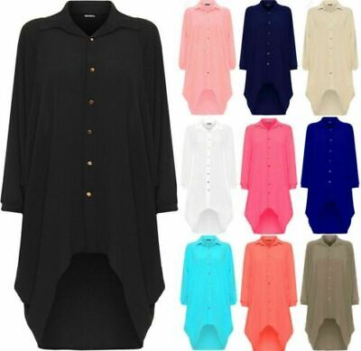 New Womens Batwing Sleeve Dip Hem High Low Button Collar Shirt Dress Plus Size • 10.99£