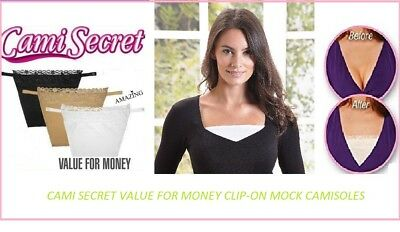 3 PC Cami Secret Clip On Mock Camisole Modesty Parody Panel White Black Beige • 3.99£