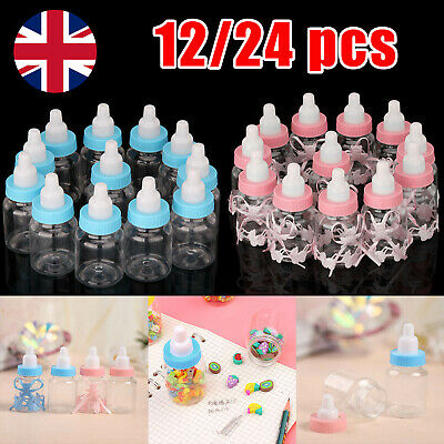 12/24X Fillable Bottles Candy Box Baby Shower Baptism Party Favour Christening • 4.59£