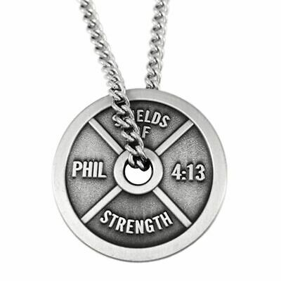 $29.99 • Buy Men's Classic Antique Finish Weight Plate Necklace-Phil 4:13 Shields Of Strength