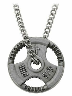 $29.99 • Buy Men's Antique Finish Grip Plate Necklace-Phil 4:13 Shields Of Strength