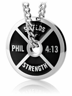$69.99 • Buy Men's Stainless  Blk. Weight  Plate Necklace-Phil 4:13 Shields Of Strength