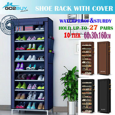 AU29.95 • Buy Shoe Rack Stackable Cabinet Storage Organizer Portable Wardrobe With Cover