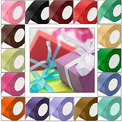 £2.69 • Buy 25 Meters Full Roll Double Sided Satin Ribbon For Party Wedding Cake Decoration