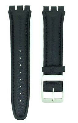 £8.25 • Buy Black Genuine Leather 19mm Replacement Padded Watch Strap For Swatch