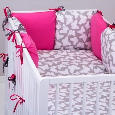 BUMPER Made Form 6 Cushions GREY BUTTERFLIES / PINK Cot / Cot Bed 60x120 70x140 • 26.99£