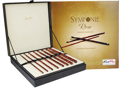 KnitPro Symfonie Rose Wood Crochet Hook Set - 20736 IN Classy Gift Box • 57.21£