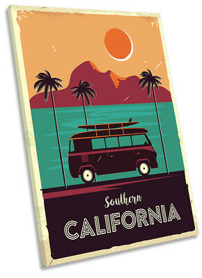 £27.99 • Buy California Camper Van Surfer Picture CANVAS WALL ART Portrait Print