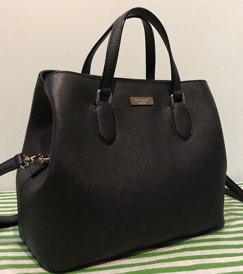 $ CDN179.19 • Buy Kate Spade Laurel Way Evangelie Satchel Handbag Shoulder Bag Black Leather New