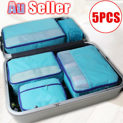 AU13.59 • Buy 5Pcs Clothes Pouch Packing Cube Storage Travel Luggage Suitcase Organizer Bags