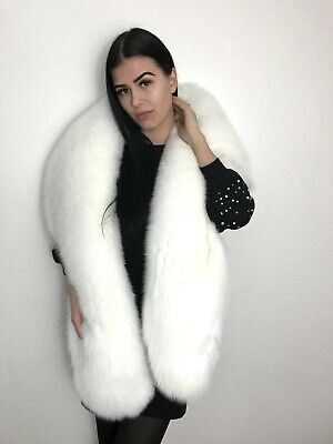 $220 • Buy  Real Pure White Fox Fur Stole Wrap. Extra Large.