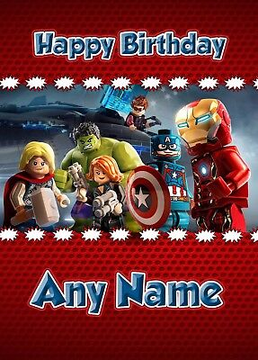 Personalised Birthday Card - Lego Marvel Iron Man Hulk Captain America - Boys   • 3.29£