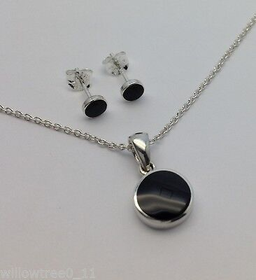 Whitby Jet And Silver Pendant And Earring Set. Hand Made In Whitby  JS 010 • 52.99£