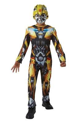 Boys Bumble Bee Transformers Costume Kids Movie Fancy Dress Party Mask  Jumpsuit • 26.99£