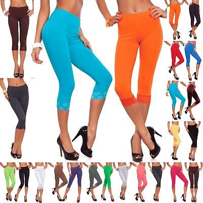 Womens Ladies 3/4 Length Lace Trim Cropped Fitted Jog Trousers Jeggings Leggings • 1.99£
