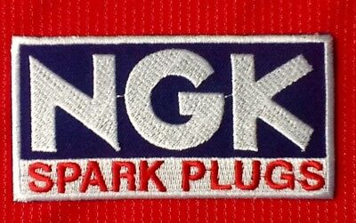 Ngk Spark Plugs Motor Racing Motorcycle Badge Iron Sew On Patch • 2.99£